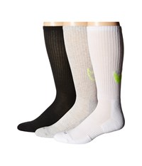 Nike Dri Fit Cotton Swoosh Crew 3 Pair Pack Black Volt Grey Heather Volt White Volt Crew Cut Socks Shoes Multi