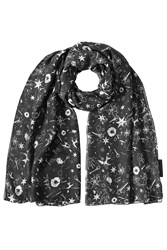 The Kooples Printed Scarf With Silk Black