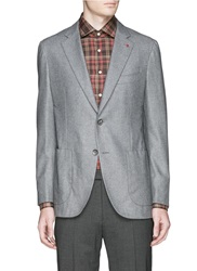 Isaia 'Sailor' Notch Lapel Cotton Wool Blazer Grey