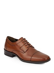 Johnston And Murphy Landrum Leather Cap Toe Lace Up Loafers Tan