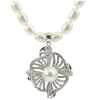 Lido Pearls Freshwarter Pearl Twisted Flower Drop Necklace Silver White