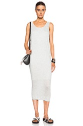 Helmut Lang Feather Jersey Long Dress In Gray