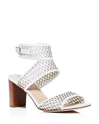 Via Spiga Weslyn Perforated Block Heel Ankle Strap Sandals 100 Bloomingdale's Exclusive White
