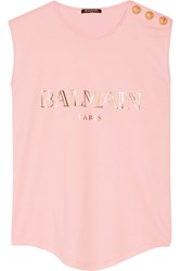 Balmain Embellished Printed Cotton Jersey Top Black