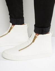 Asos Zip Trainers In White Pyramid With Chunky Sole White