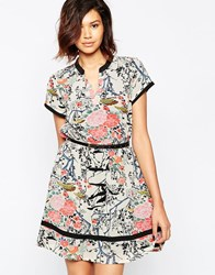 Yumi Skater Dress In Blossom Floral Print Cream