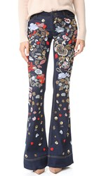 Alice Olivia Ryley Embellished Low Rise Bell Jeans Dark Indigo Multi