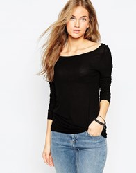 Asos Top With Off Shoulder Detail In Slouchy Fabric Black