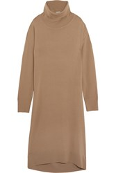Balenciaga Wool And Cashmere Blend Turtleneck Midi Dress Camel