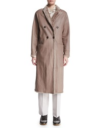 Brunello Cucinelli Reversible Double Breasted Long Coat Bran