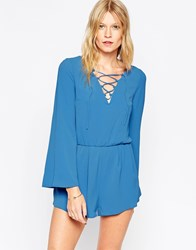 Love Lace Front Playsuit Blue