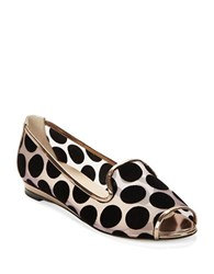 Aquatalia By Marvin K Waverly Peep Toe Flats Rose Gold Black