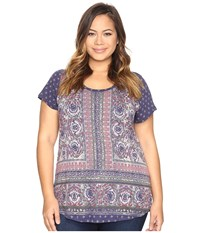Lucky Brand Plus Size Painted Border Tee Blue Multi Women's T Shirt
