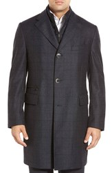 Men's Big And Tall Corneliani Classic Fit Plaid Wool Overcoat Dark Grey Check