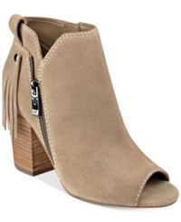Marc Fisher Novice Peep Toe Block Heel Booties Women's Shoes Taupe Suede