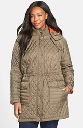 Plus Size Women's Vince Camuto Quilted Jacket With Detachable Contrast Lined Hood