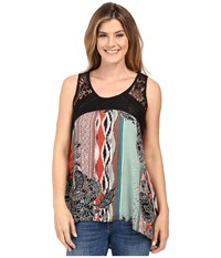 Scully Charlane Paisley And Lace Tank Top Multi Women's Sleeveless