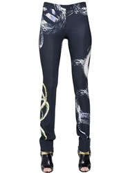 Just Cavalli Snake Printed Stretch Viscose Cady Pants
