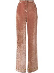 Alberta Ferretti Velvet Palazzo Pants Pink And Purple