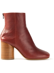 Maison Martin Margiela Contrast Heel Ankle Boots Red