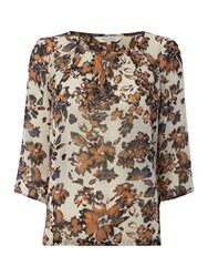 Part Two Effortless Feminine Blouse Made From A Light Fabr Brown