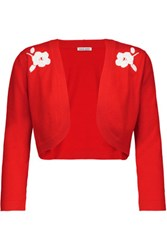 Tomas Maier Cropped Embroidered Cashmere Cardigan