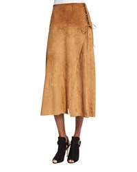 Ralph Lauren Collection Lace Up Suede A Line Skirt Brown Gold Caramel