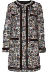Boutique Moschino Grosgrain Trimmed Boucle Tweed Coat Black