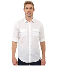 Calvin Klein Classic Fit Linen Roll Up Sleeve Shirt White Men's Clothing