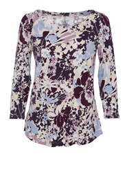 Lands' End 3 4 Sleeve Slub Jersey Print Top Grape