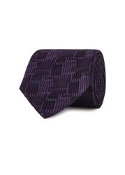 Pal Zileri Purple Geometric Jacquard Silk Tie