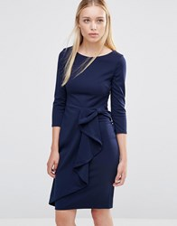City Goddess 3 4 Sleeve Waterfall Peplum Midi Dress Navy