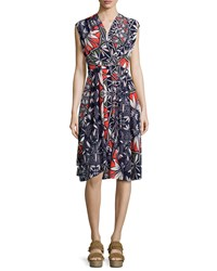 Tory Burch Pottery Sleeveless Cocktail Dress Tory Navy Women's