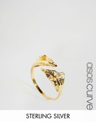 Asos Curve Gold Plated Sterling Silver Open Leaf Ring Gold