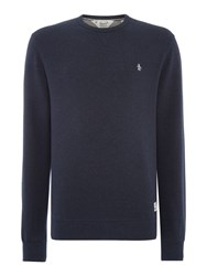 Original Penguin Loop Back Crew Neck Marl Sweatshirt Navy