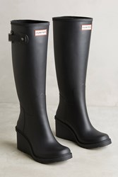 Anthropologie Hunter Tall Wedge Rain Boots Black