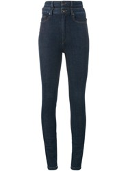Y Project Double Waistband Skinny Jeans Blue