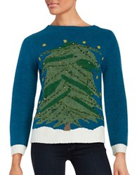 Whoopi Goldberg Light Up Christmas Tree Sweater Blue Green