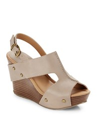 Kenneth Cole Reaction Sole O Leather Open Toe Slingback Wedges Bark