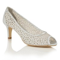 Lotus Weronika Peep Toe Courts Silver