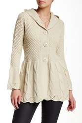 Chaudry Buttoned Ribbed Sweater White