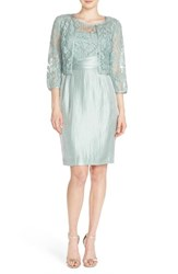 Women's Adrianna Papell Embroidered Lace Sheath Dress And Jacket Icy Mint