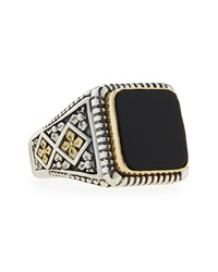 Konstantino Men's Onyx Square Ring Black