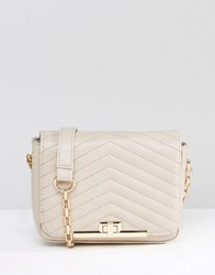 New Look Quilted Bag With Chain Strap Mink Grey