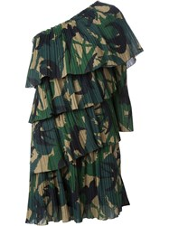 Sonia Rykiel One Shoulder Ruffle Dress Green