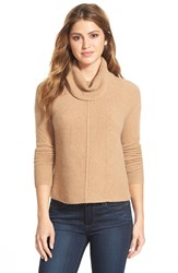 Halogen Cashmere Mixed Rib Turtleneck Regular And Petite Heather Camel