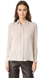 Vince Collared Concealed Placket Blouse Taupe