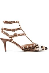 Valentino Studded Leopard Print Calf Hair Pumps Brown