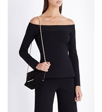 Roland Mouret Off The Shoulder Stretch Knit Top Black