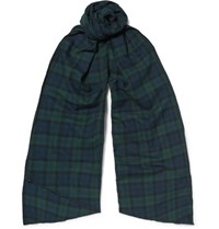 Engineered Garments Checked Brushed Cotton Flannel Scarf Navy